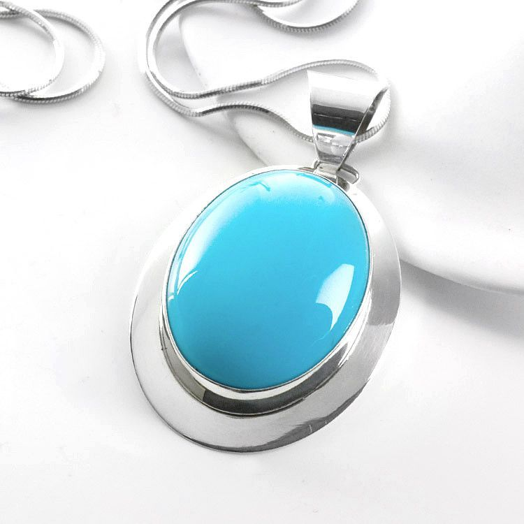 Oval Turquoise & Silver Pendant