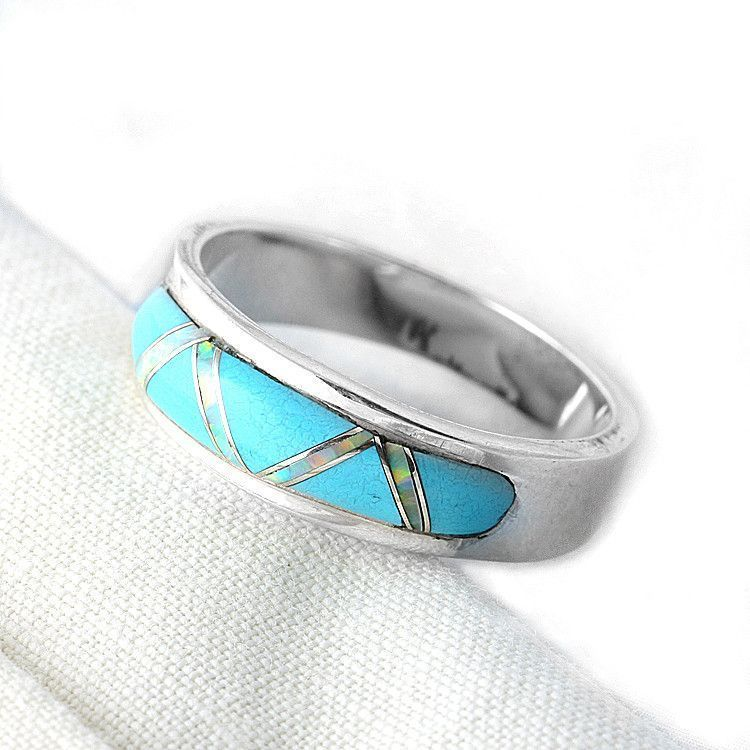 Turquoise & Opal in Silver Ring