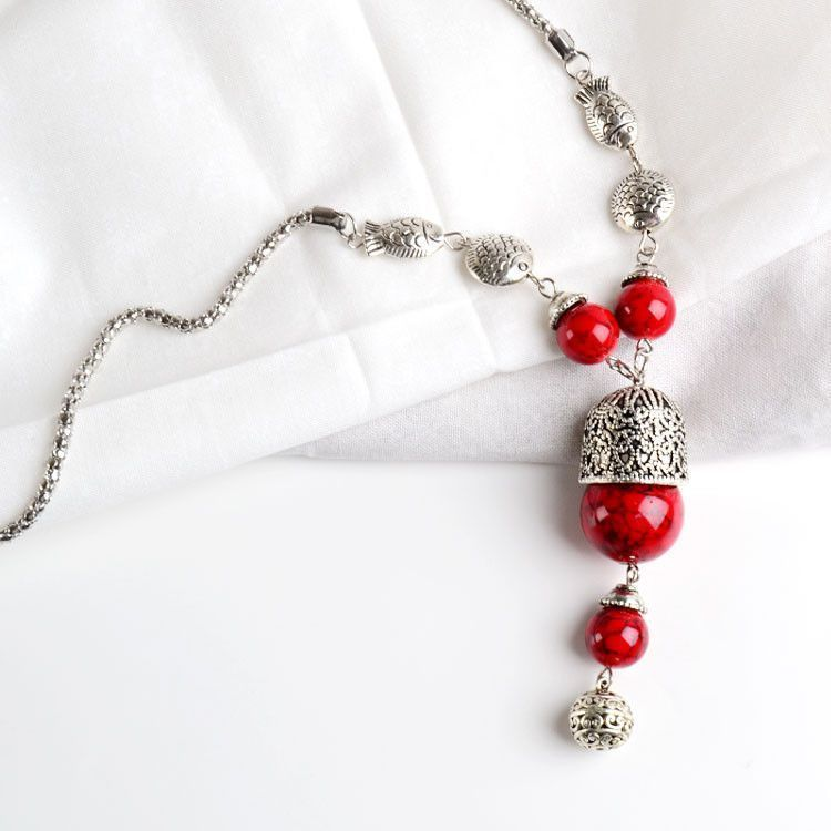 Long Synthetic Red Coral Fashion Necklace