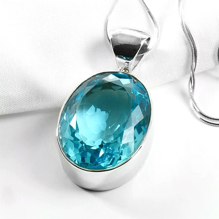 Large Blue Topaz Pendant