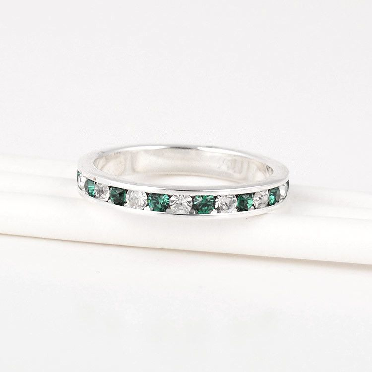 Stackable Emerald Eternity Band Ring