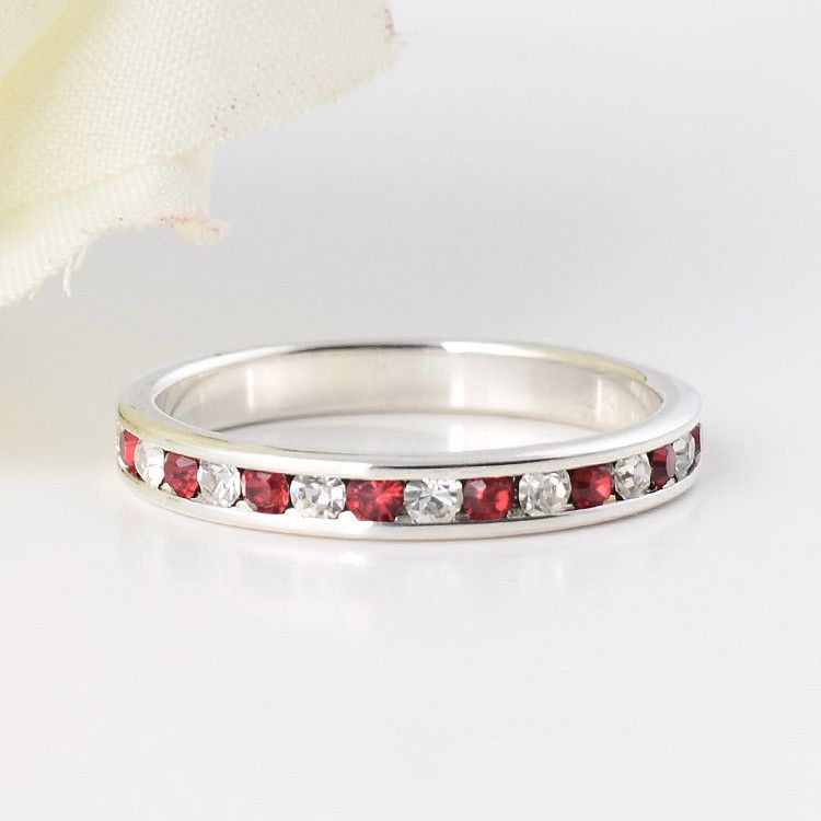 Stackable Ruby Eternity Band Ring