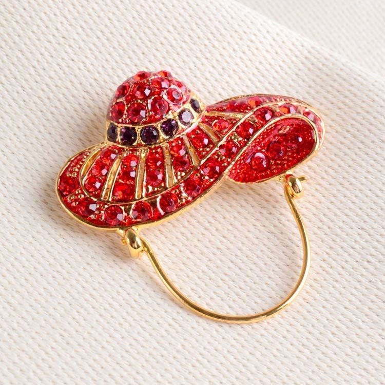 Red Hat with Crystals Brooch