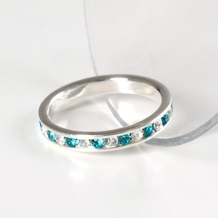 Stackable Aquamarine Eternity Band Ring