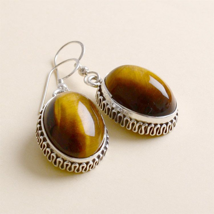 Tiger's Eye in Silver Earrings