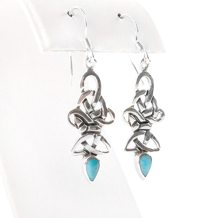 Silver Celtic Knot & Turquoise Earrings