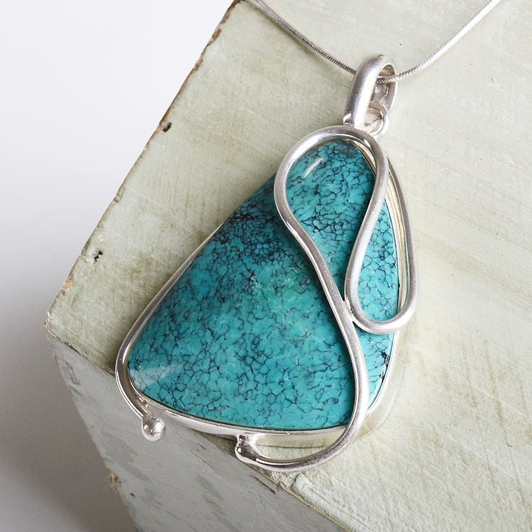 Large Turquoise & Silver Swirl Pendant