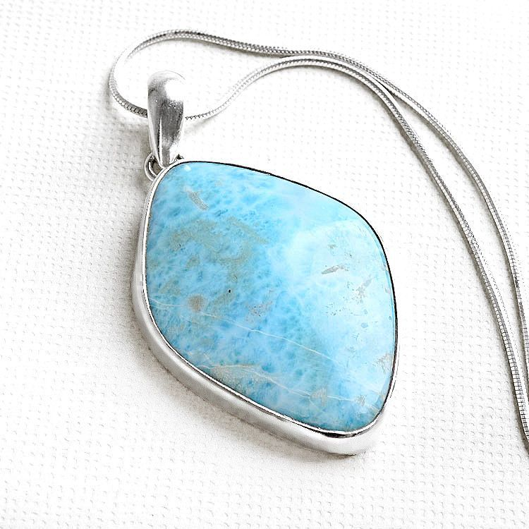 Unique Natural Larimar Pendant