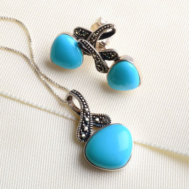 Turquoise Jewelry Set with Marcasites