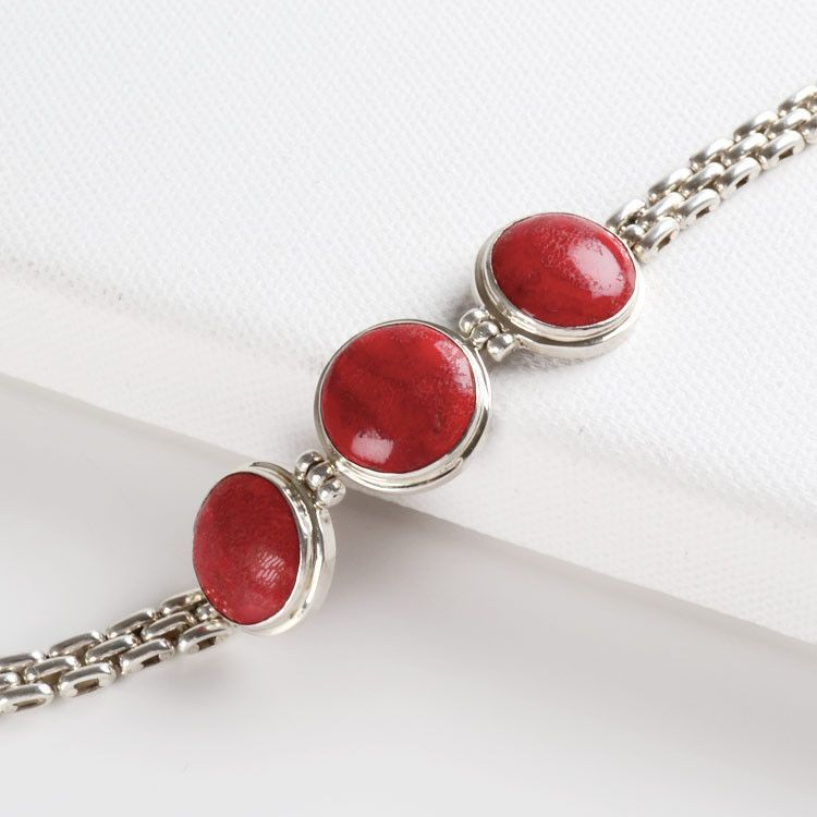 Apple Coral & Sterling Silver Bracelet