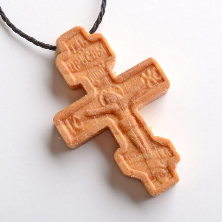 Wooden Orthodox Cross Necklace