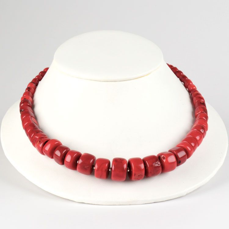 Big Red Coral Beaded Necklace