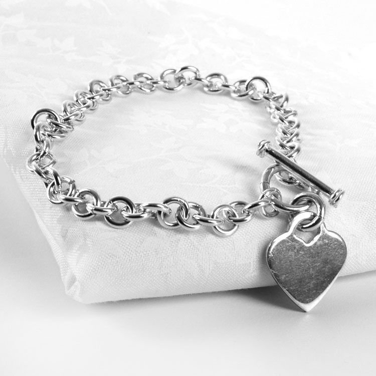 Silver Chain Heart Toggle Bracelet