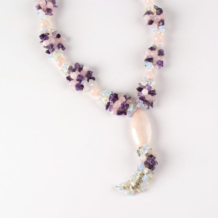 Amethyst, Quartz, & Opal Ice Necklace