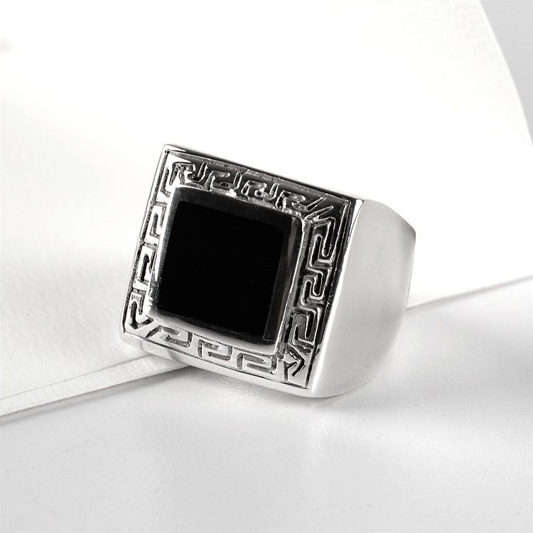 Square Black Onyx Ring