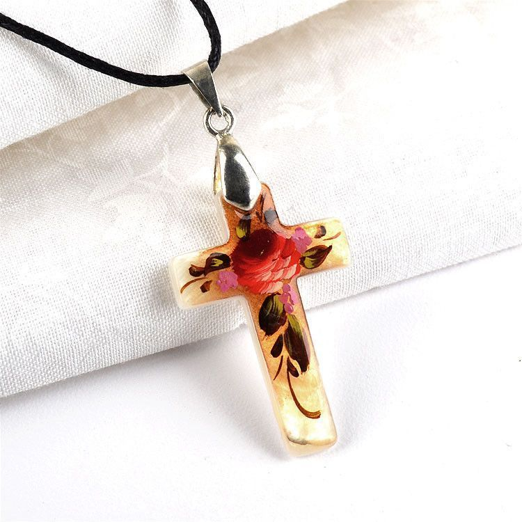 Floral Painting Cross Necklace