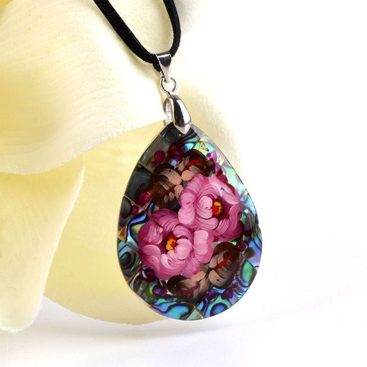 Zhostovo on Abalone Necklace