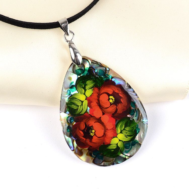 Red Zhostovo on Abalone Necklace