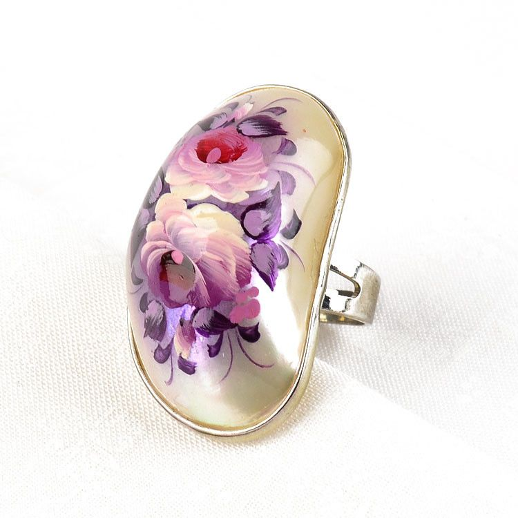 Purple Painted Flowers Ring