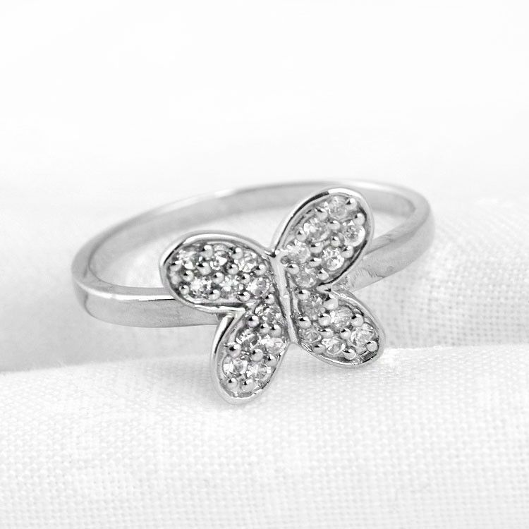 Simple Silver Butterfly Ring