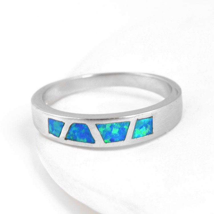 Blue-Green Opal Inlaid Ring