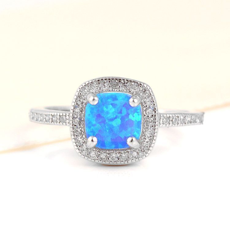 Blue Opal Square Ring