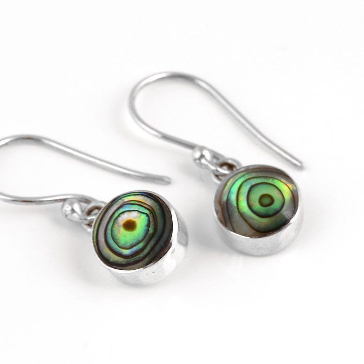 Mini Round Abalone Earrings