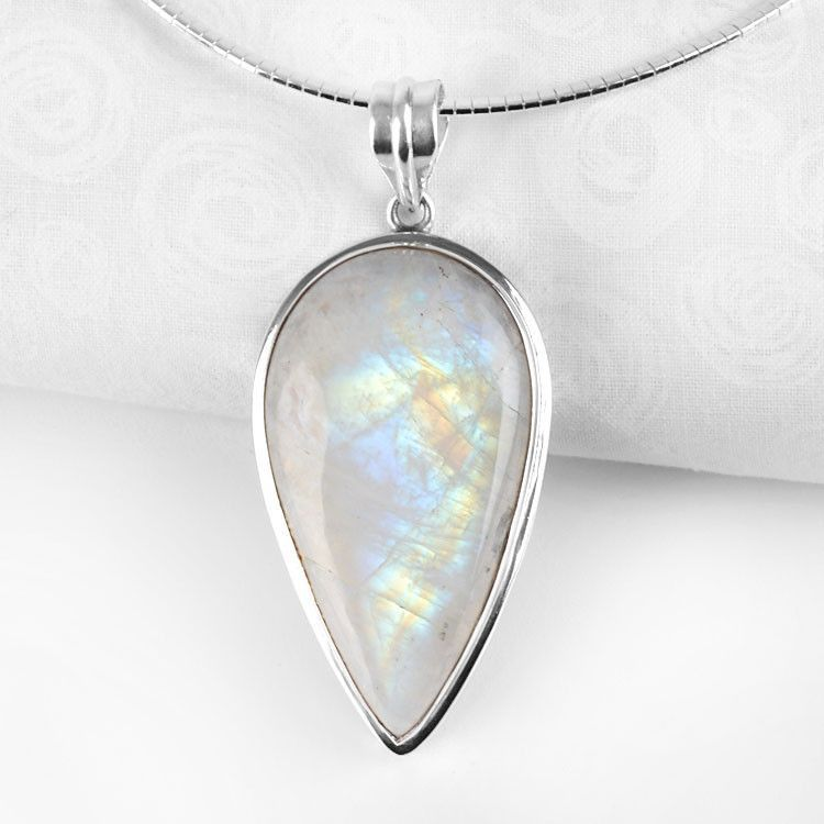 Large Inverted Drop Moonstone Pendant