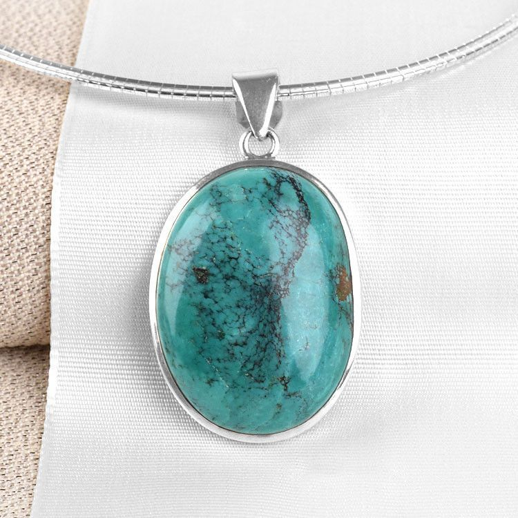 Imperfect Oval Turquoise Pendant