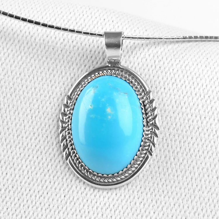 Natural Turquoise Pendant Oval