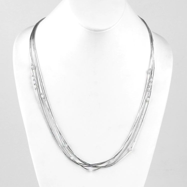 Five Layer Liquid Silver Necklace