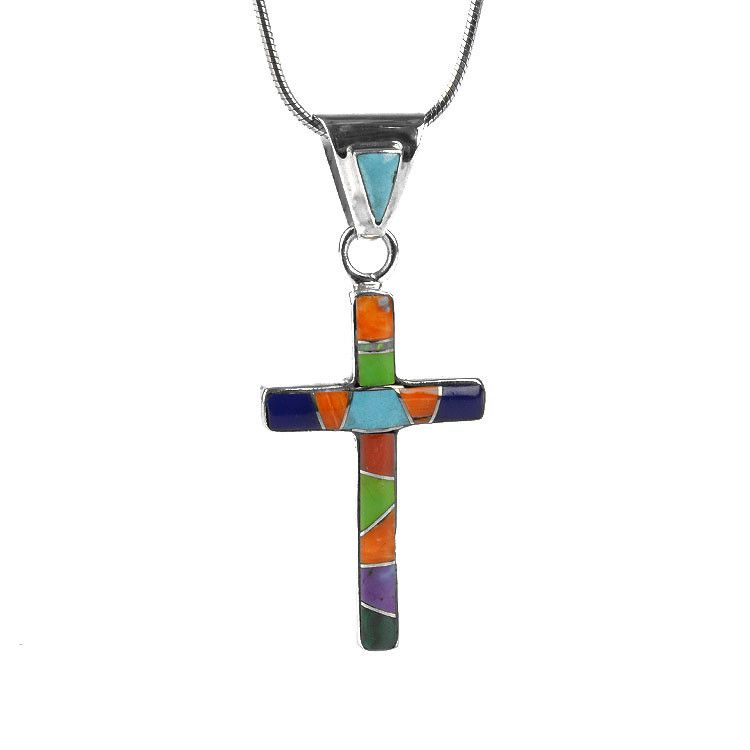 Colorful Inlaid Gemstone Cross Pendant
