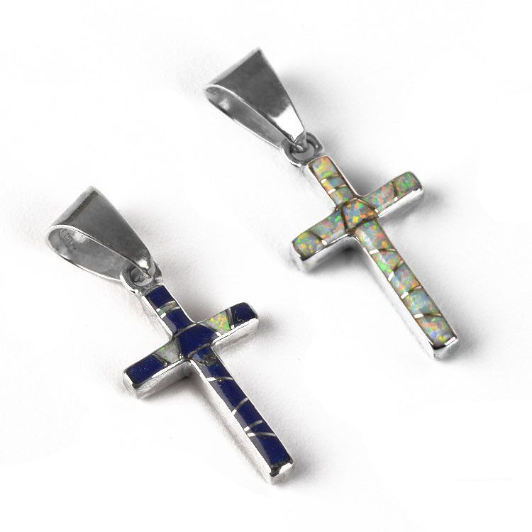 Reversible Cross Pendant - Opal or Lapis Lazuli