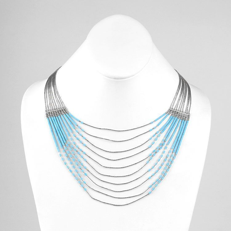 Ten Layer Liquid Silver & Turquoise Necklace (AS-IS)