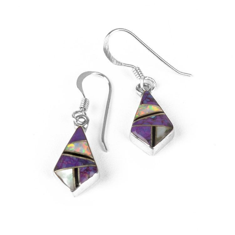 Small Inlaid Sugilite & Opal Earrings