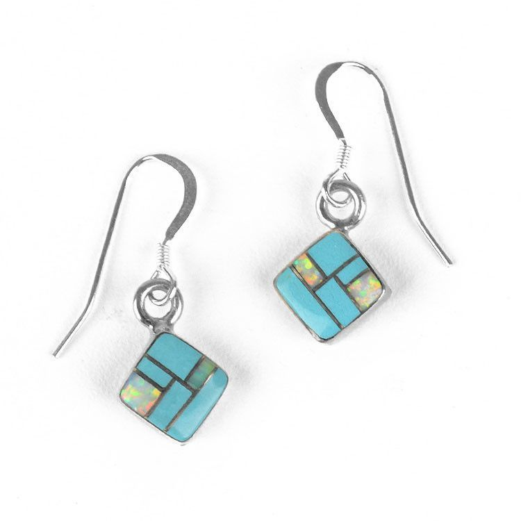 Dainty Turquoise/Opal Inlaid Earrings