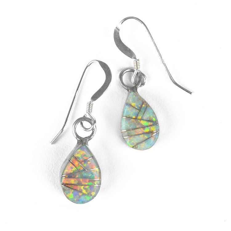 Opal Inlay Drop Earrings
