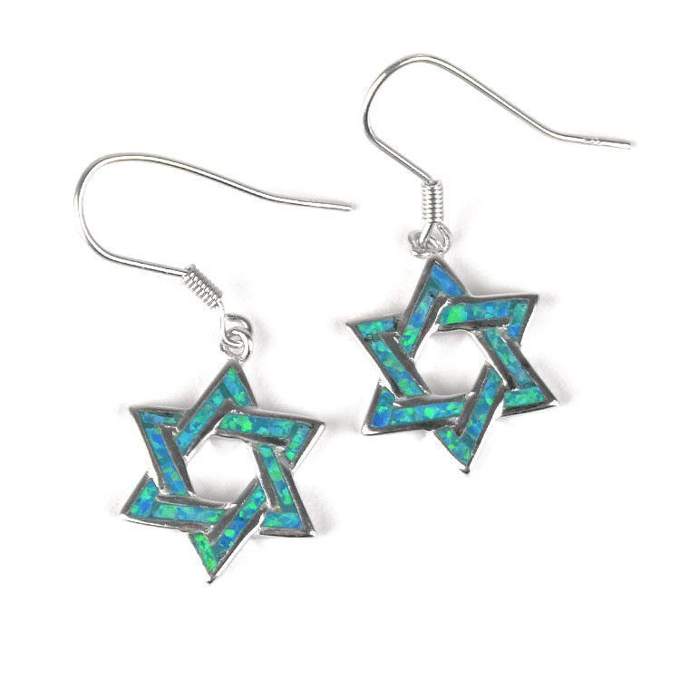 Blue Opal Star of David Earrings