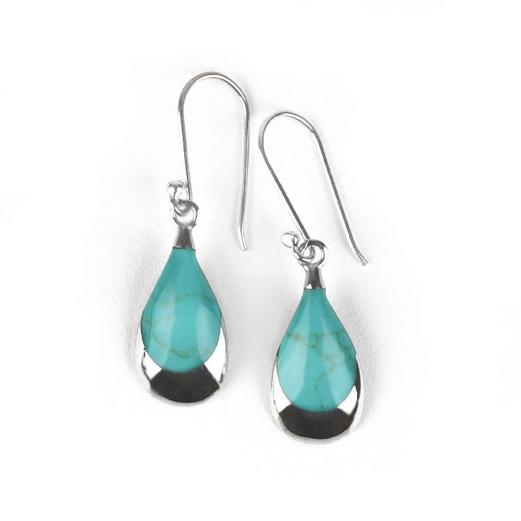 Turquoise Silver Drop Earrings