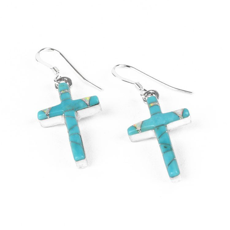Turquoise with Opal Cross Earrrings