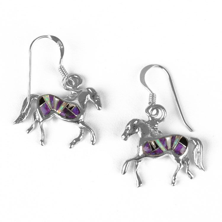 Gemstone Horse Earrings