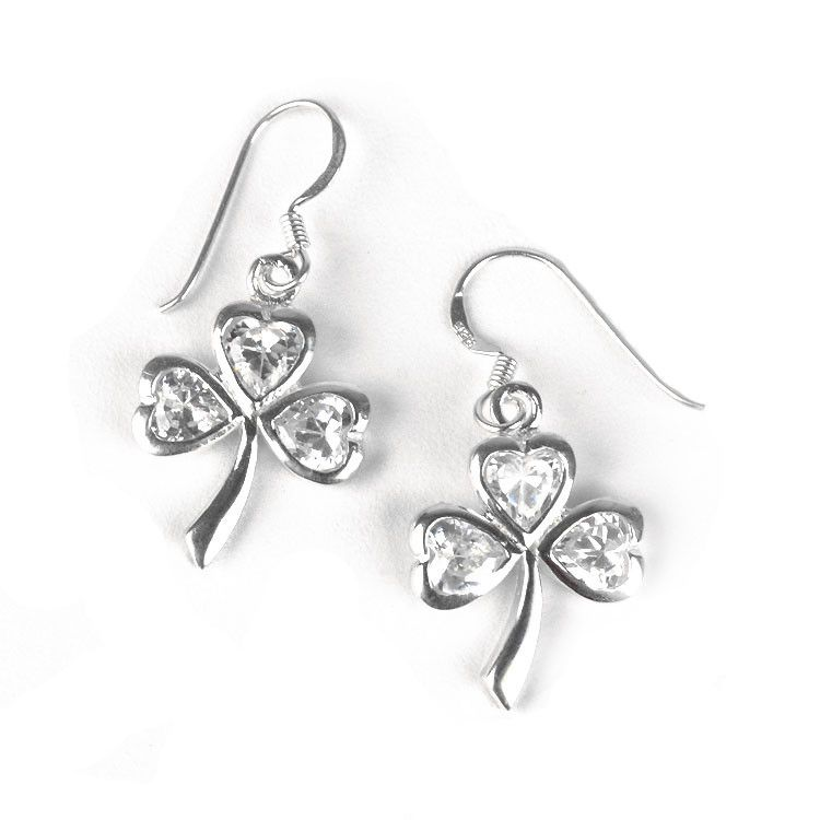 Clear Crystal Silver Shamrock Earrings