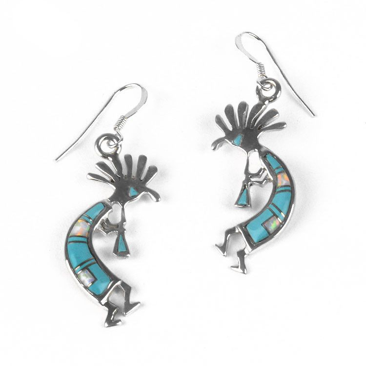 Turquoise & Opal Kokopelli Earrings