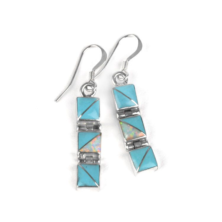 Dangling Turquoise Squares Earrings