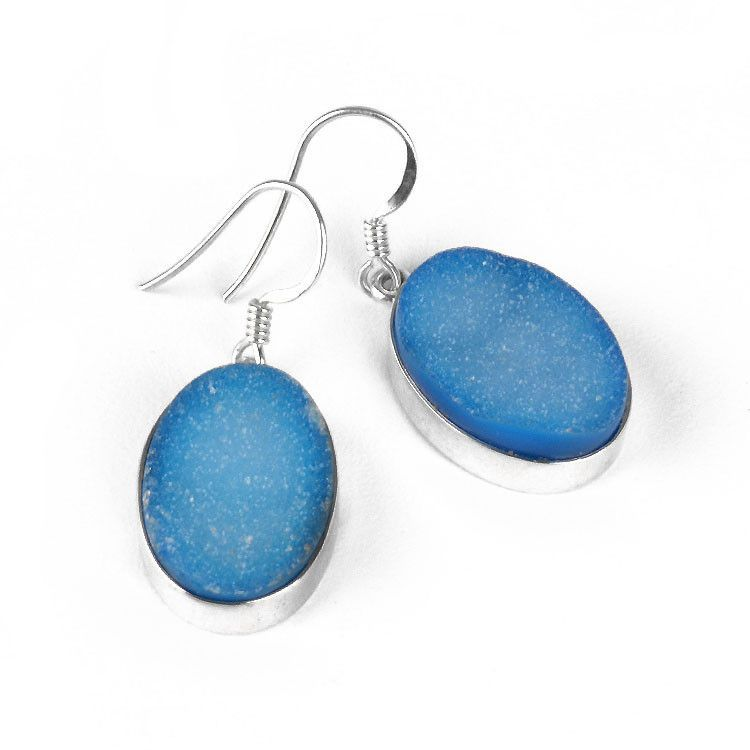 Blue Druzy Gemstone Earrings