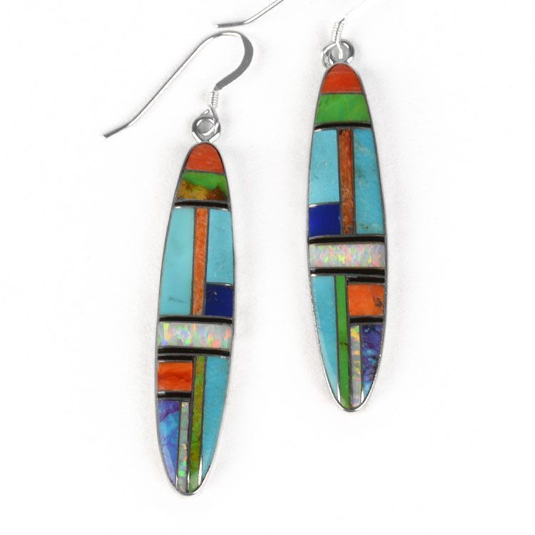 Long Southwest Style Gemstone Earrings