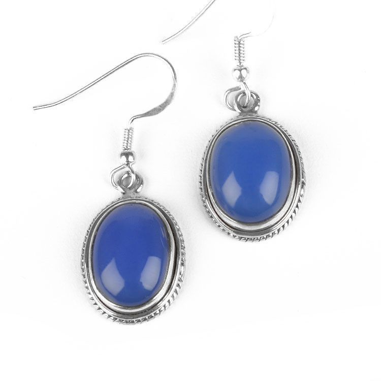 Blue Chalcedony Gemstone Earrings