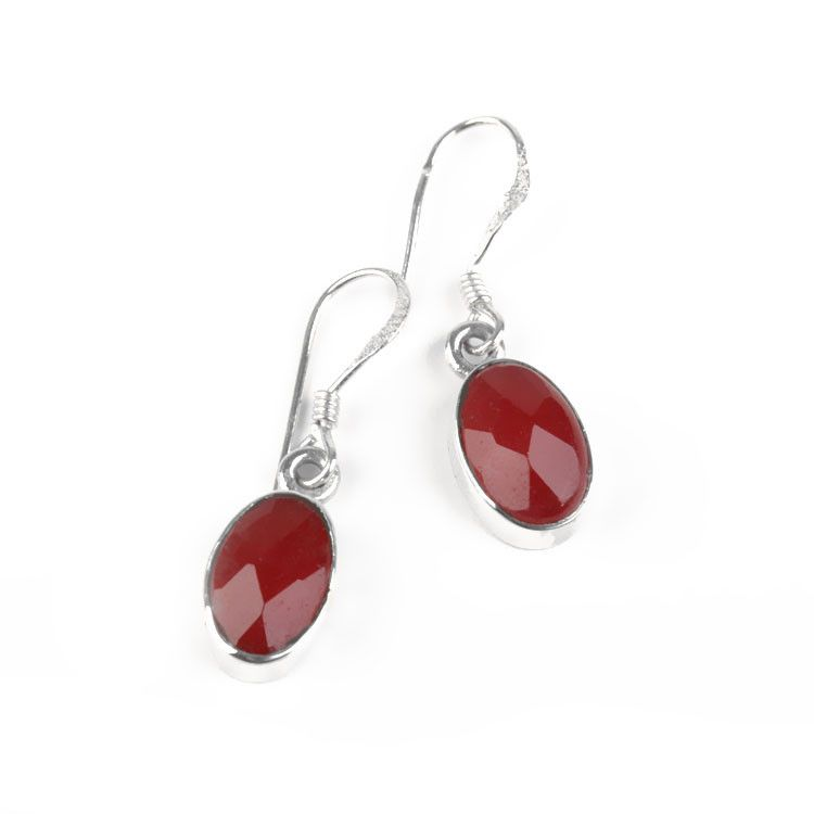 Faceted Raw Ruby Gemstone Earrings