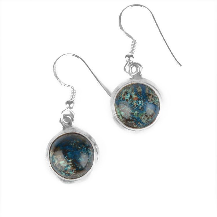 Small Round Moss Agate Earrings