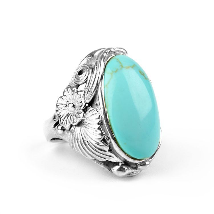 Turquoise Stone & Floral Silver Ring